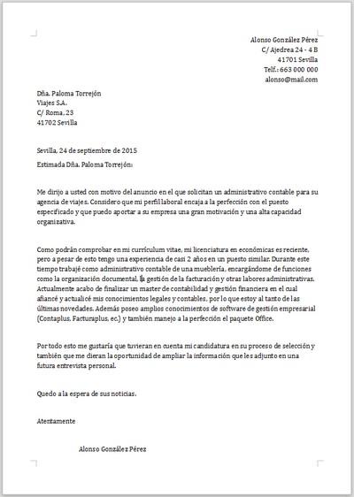 Ejemplo De Carta De Presentación Para Administrativo