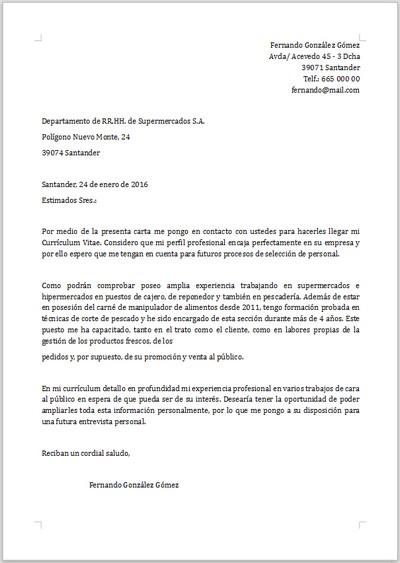 ejemplo carta de presentacion hosteleria ejemplo de carta