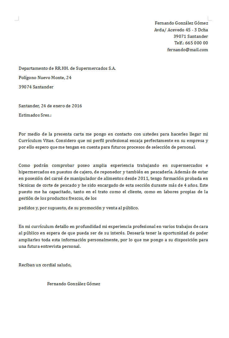 Carta de presentación: definición y ejemplos
