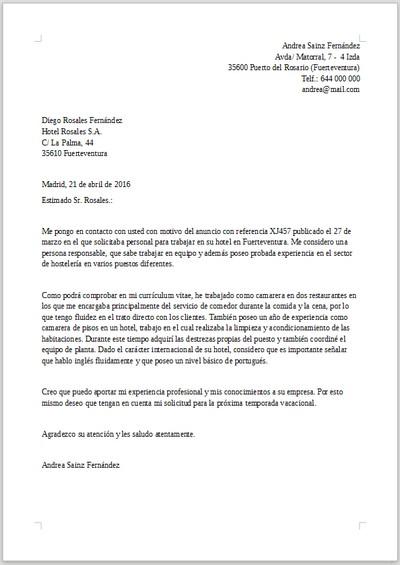 Ejemplo De Carta De Presentacion Para Hosteleria
