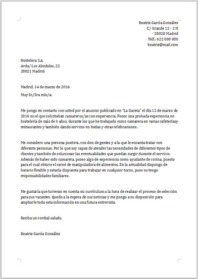 Ejemplo De Carta De Presentacion Para Camarero
