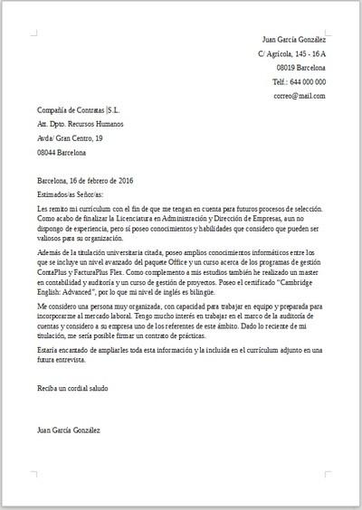 Ejemplo De Carta De Presentacion Para Trabajar De Becario