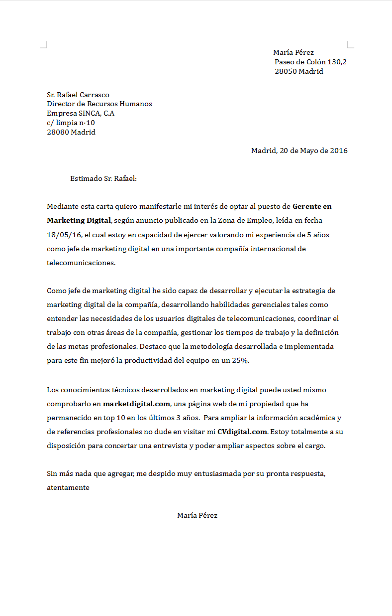 Carta de presentación para Gerente de Marketing Digital