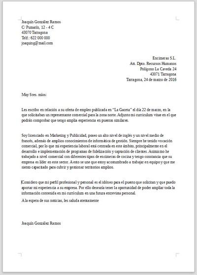 cartas de venta  Ejemplo de carta de presentación para Jefe de ventas