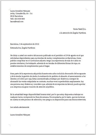 ejemplo de carta de presentaci u00f3n para dependienta