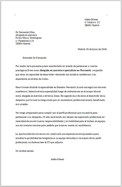 Ejemplo De Carta De Presentacion Espontanea Para Abogada